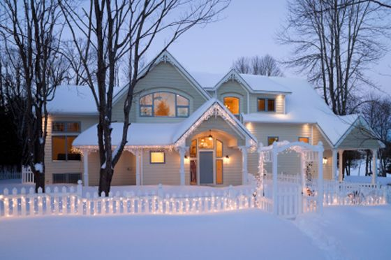 house exterior in winter with snow